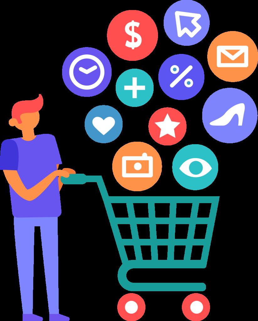verkaufe-online-kunde-mit-einkaufswagen